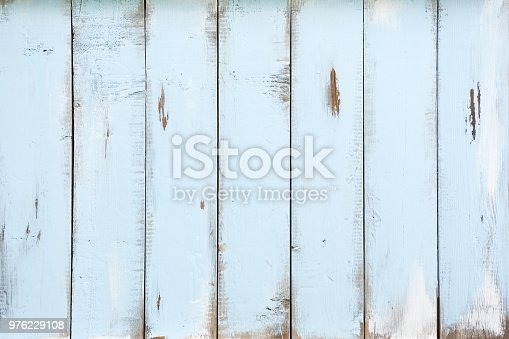 Blue distressed old barn wood textured background. Horizontal.