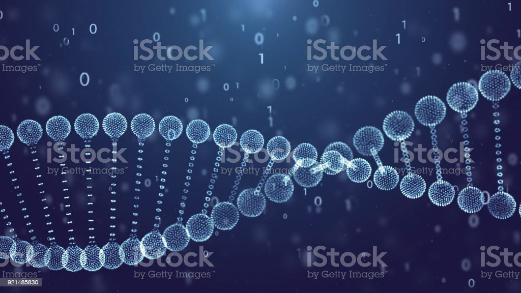 Blue DNA Spin Futuristic digital background,Abstract background for Science and technology stock photo