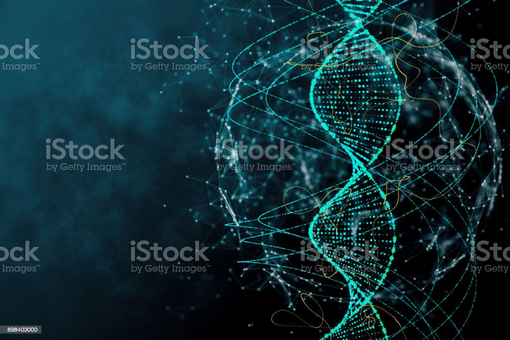 Blue DNA texture stock photo
