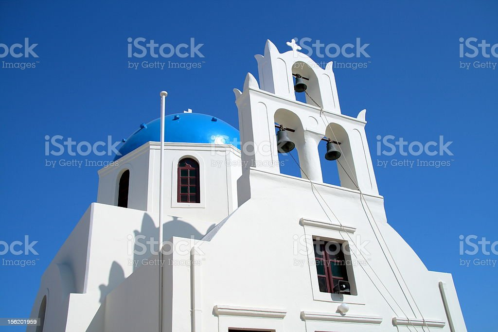 Blue Dome Church in Greece royalty-free stock photo