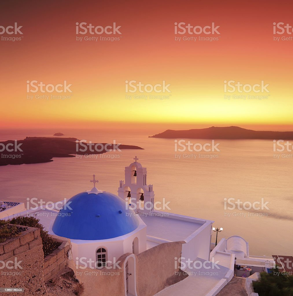 Blue dome Church St. Spirou in Firostefani stock photo