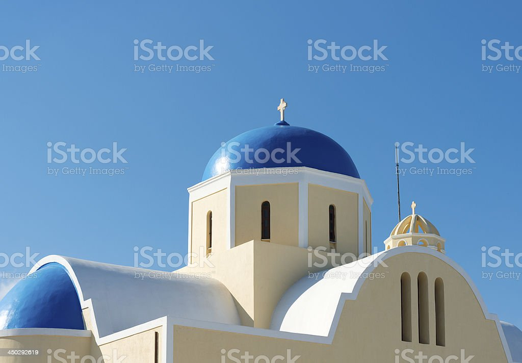 Blue Domed Church in Oia Village on Santorini Island Greece royalty-free stock photo