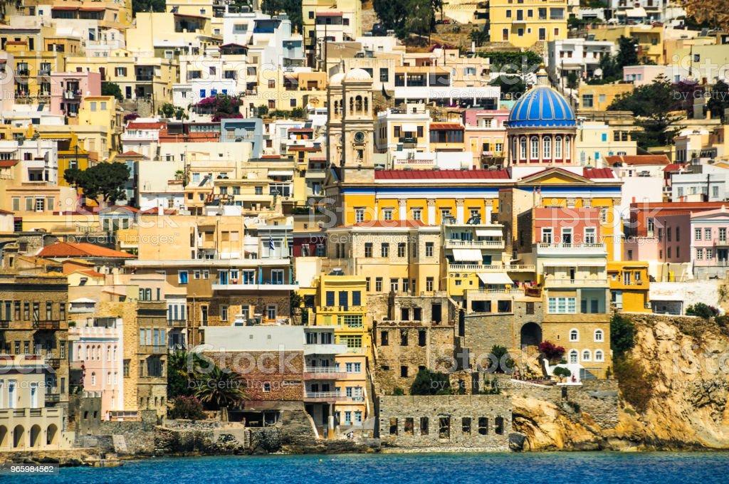 Blauwe koepelvormige kerk van Syros - Royalty-free Architectuur Stockfoto