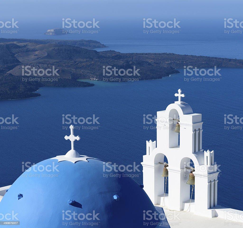 Blue Domed Church on Santorini Island Greece stock photo