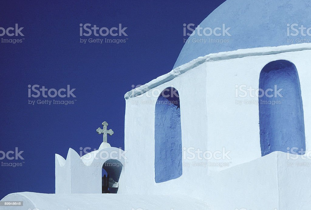 Blue Domed Church, Paros, Greece (Horizontal) stock photo