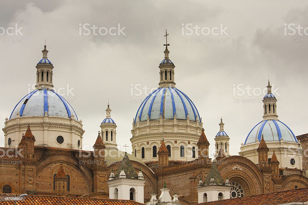 Blue Domed New Cathedral Cuenca Ecuador The blue tiled domes of Cathedral of the Immaculate Conception in Cuenca Ecuador which is also known as the New Cathdral. Architectural Dome Stock Photo