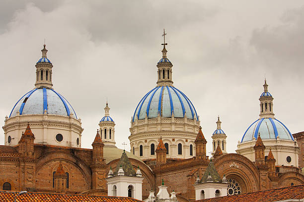 Blue Domed New Cathedral Cuenca Ecuador stock photo