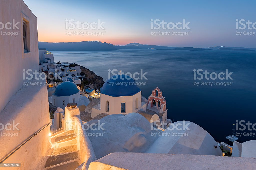 Blue domes at Oia , Santorini stock photo