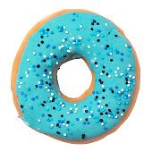 istock Blue donut with sprinkles isolated on white background 622919662