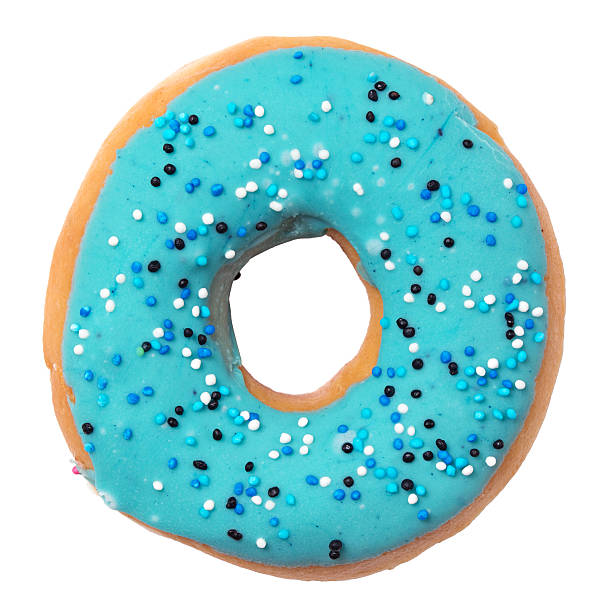 Blue donut with sprinkles isolated on white background stock photo