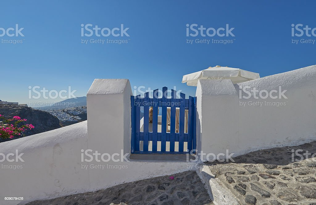 Blue door at Imerovigli , Santorini stock photo