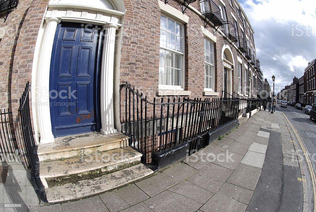 Blue door fisheye royalty-free stock photo