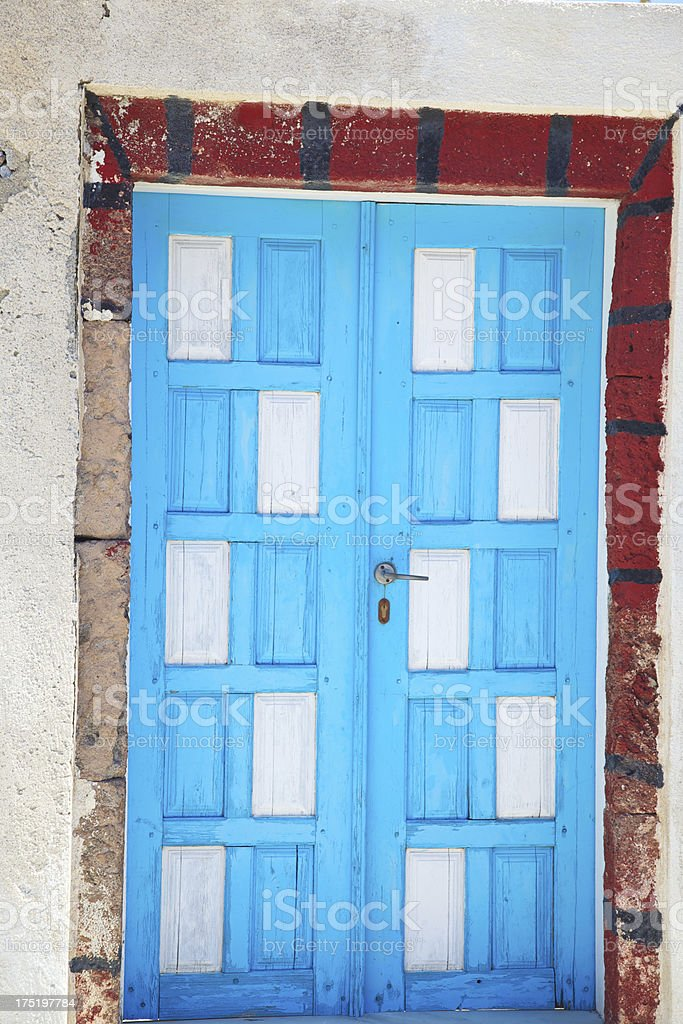 Blue Door in Akrotiri (Santorini). Greece. royalty-free stock photo