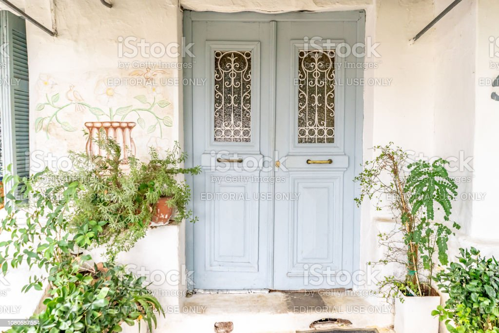 Blue door in Anafiotika in Athens, Greece stock photo