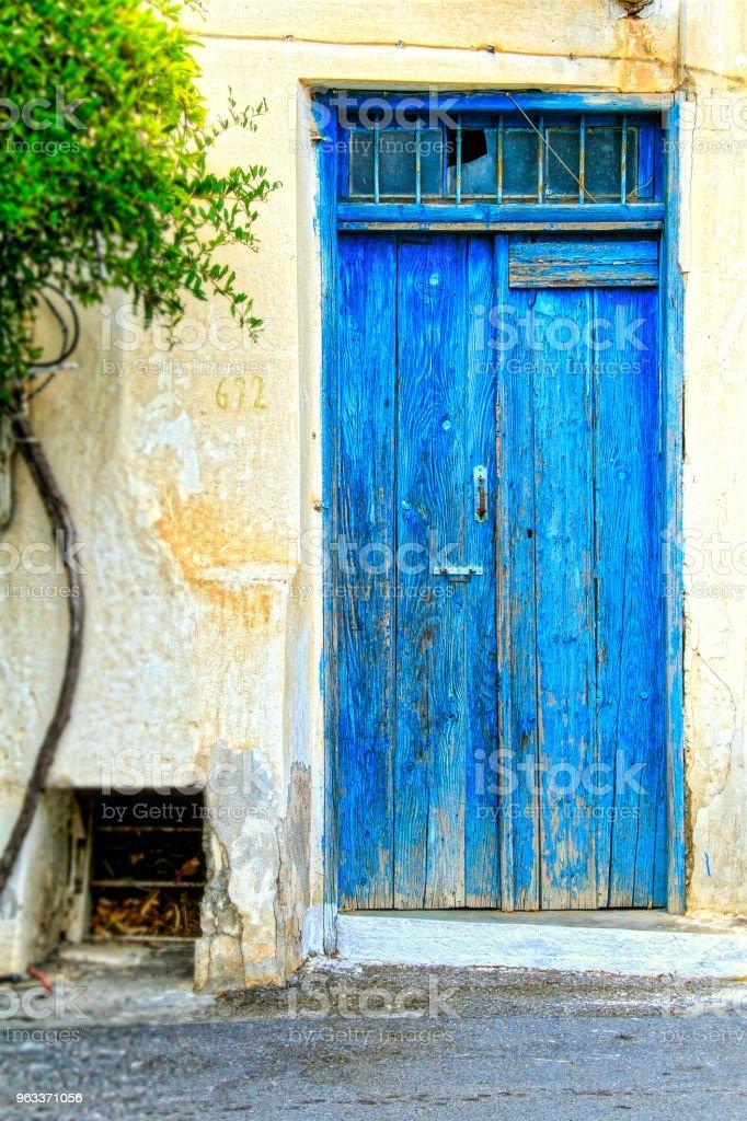 Blue Door of Greece stock photo