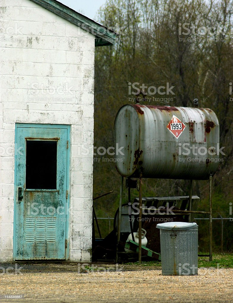 Blue Door on Abandoned Building royalty-free stock photo