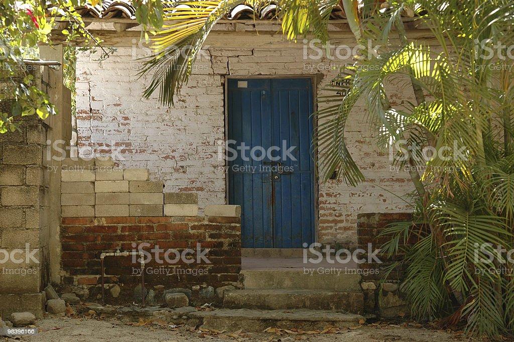 Blue door, rustic entrance. stock photo