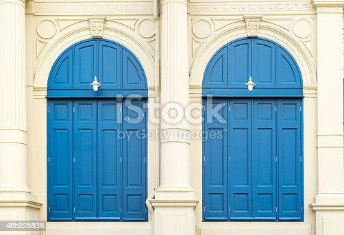 istock Blue door with roman style at Grand Palace Thailand 485325838