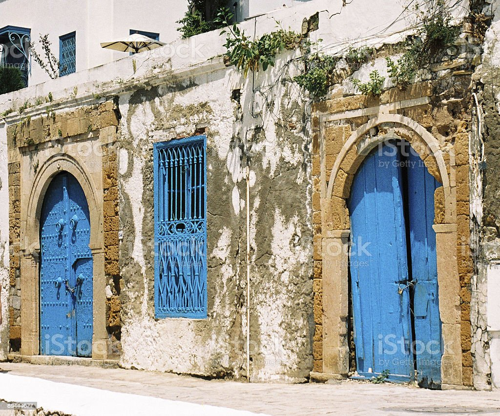 blue doors in Tunisia royalty-free stock photo