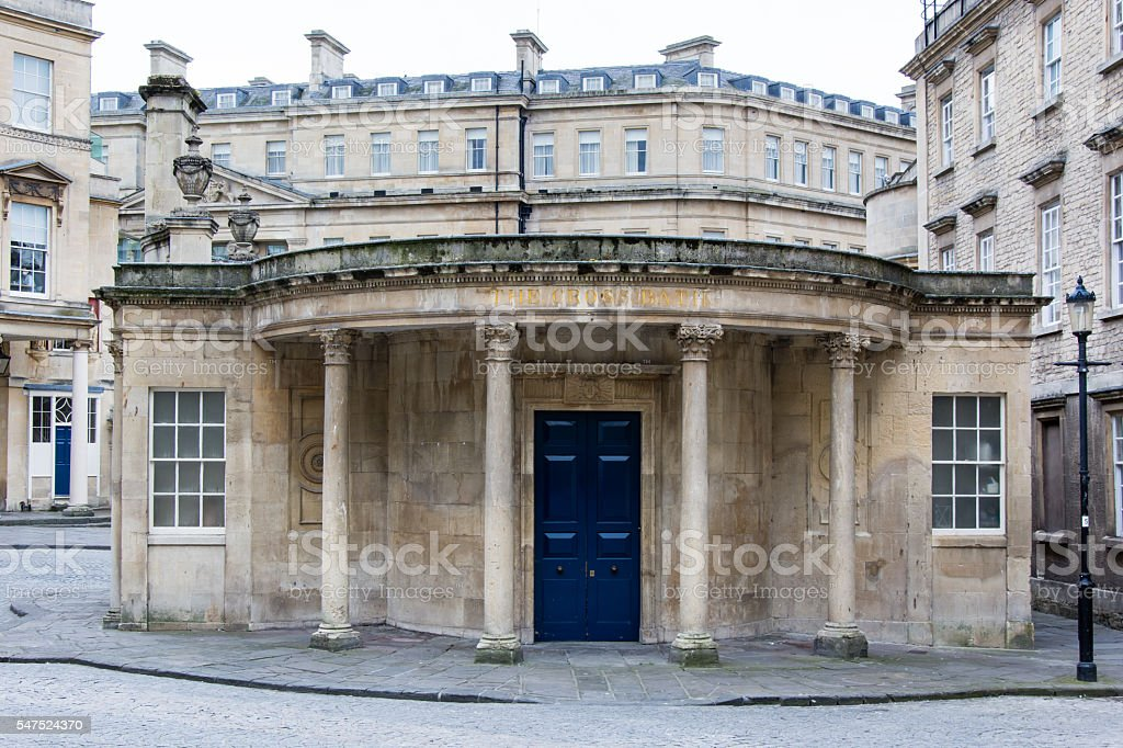 Blue doors of The Cross Bath Spa stock photo