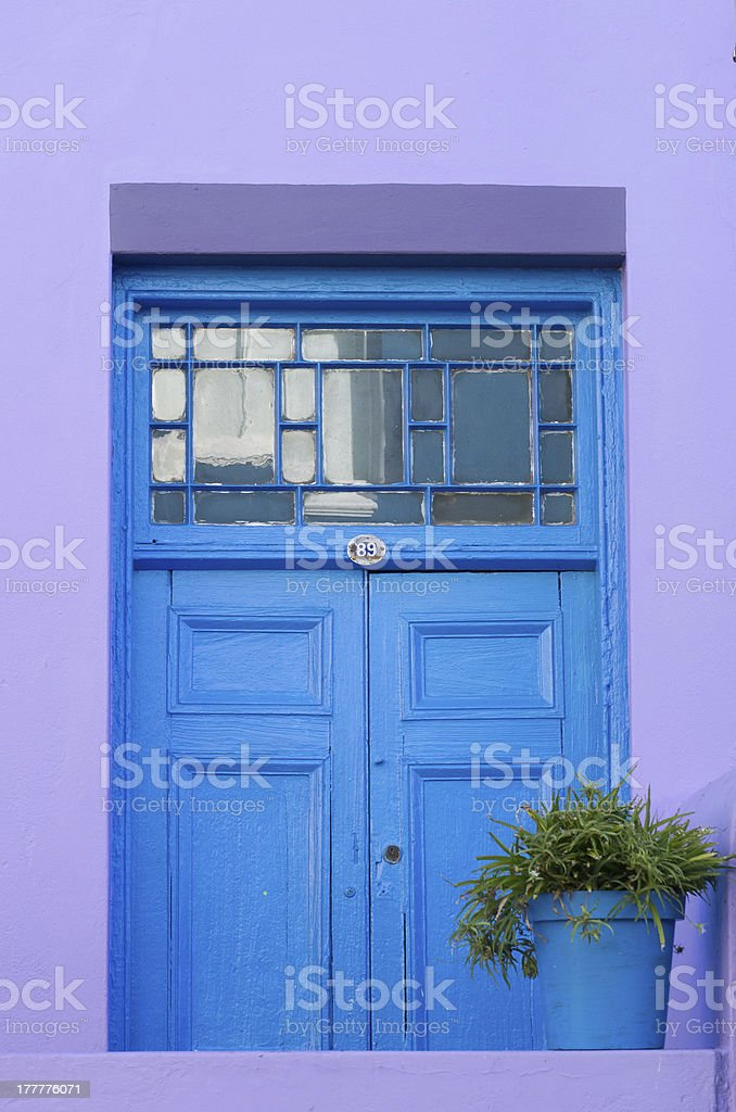 Blue doorway, Bo Kaap, Cape Town, South Africa stock photo