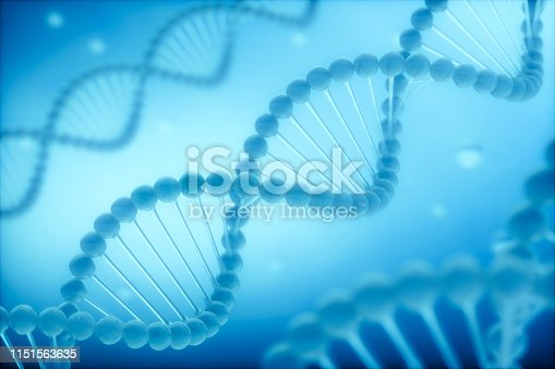 906720020 istock photo Blue double helix models on background 1151563635