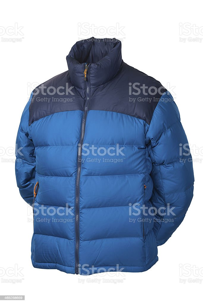 Blue down jacket stock photo