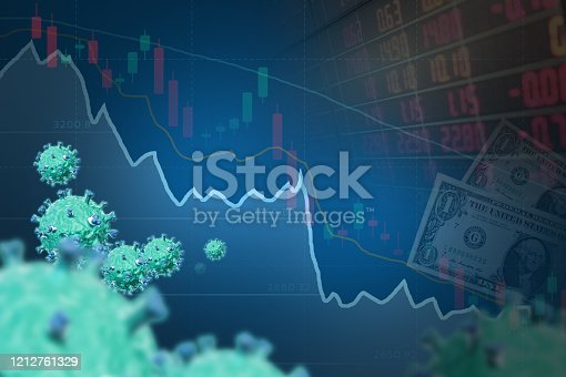 istock Blue Down trend line chart and 3d virus. 1212761329