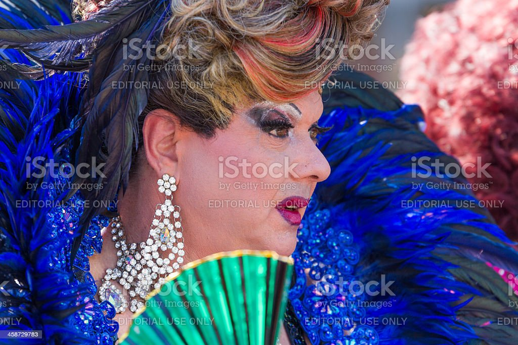 Blue Drag Queen at Christopher Street Day royalty-free stock photo