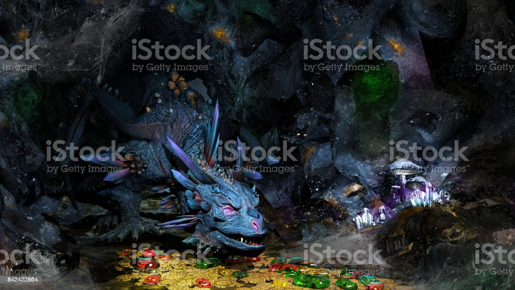 Blue dragon and treasure stock photo