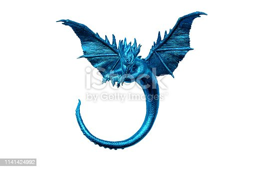 blue dragon with outstretched wings and long tail on isolated background