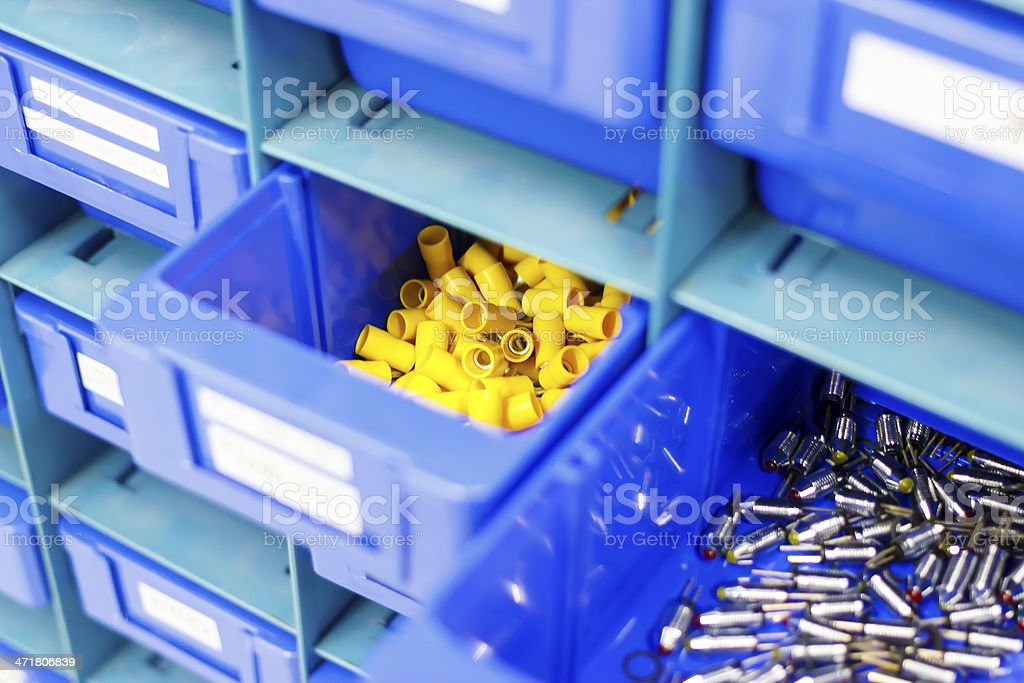 Blue drawer for keep equipment stock photo