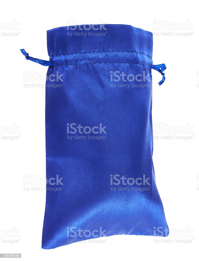 Blue drawstring bag packaging isolated stock photo