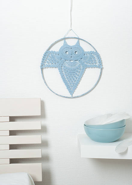 blue dream catcher crocheted owl - diy eule stock-fotos und bilder
