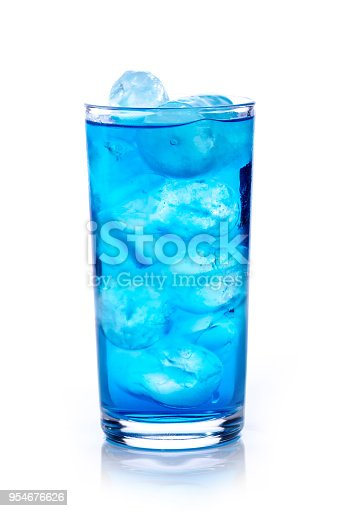istock blue drink with ice cubes on white background, isolated 954676626