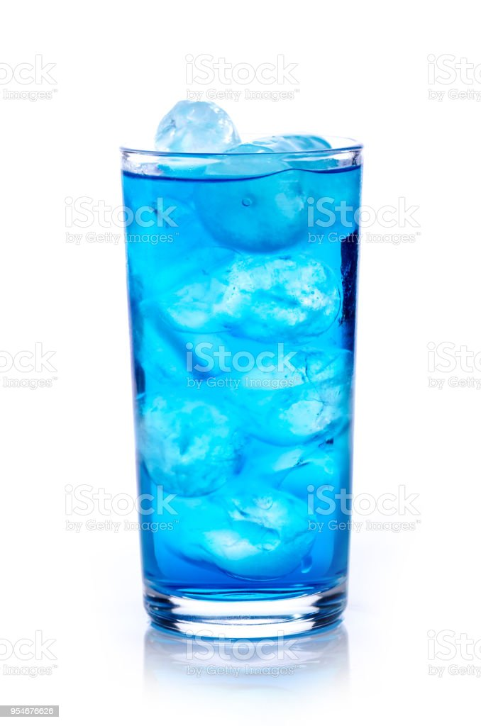 blue drink with ice cubes on white background, isolated stock photo