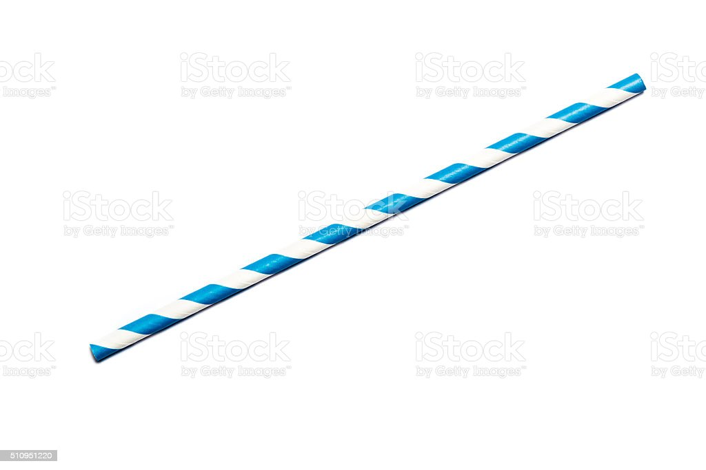 Blue drinking straw stock photo