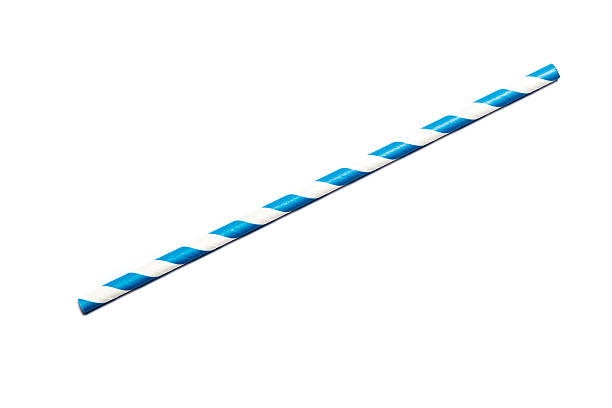 Blue drinking straw A single blue drinking straw in retro style with blue and white stripes on white background drinking straw stock pictures, royalty-free photos & images