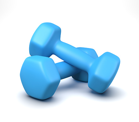 A Pair of Blue Gym Weights Isolated on White Background 3D Illustration