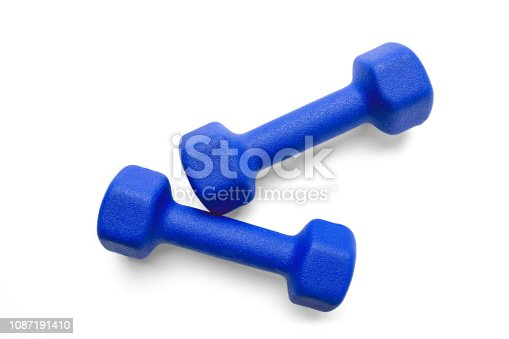 Two blue dumbbells isolated on white background, top view. Clipping-path, except the shadows, is included.