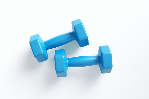 Blue dumbbells on white background. Horizontal composition with clipping path and copy space. Directly above.