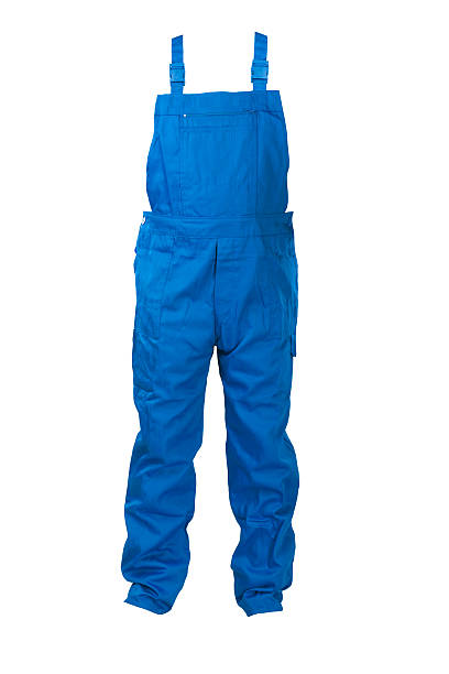Blue dungarees -protective clothing. stock photo
