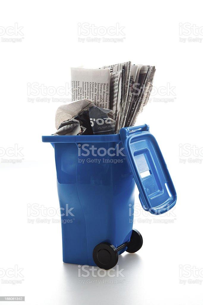 blue dustbin stock photo