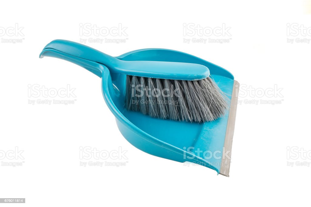 Blue Dustpan and a brush isolated stock photo
