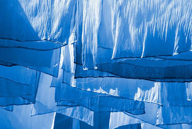 Blue Dyed Fabrics stock photo