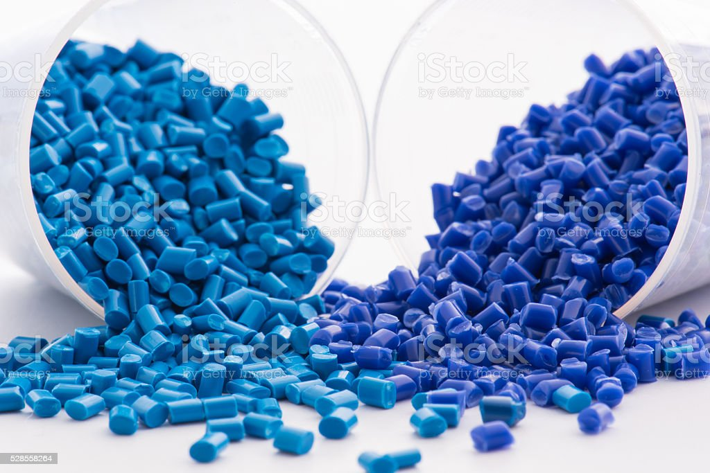 2 blue dyed polymer resins stock photo