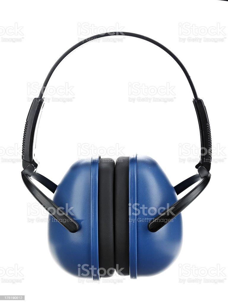 Blue Ear Muffs stock photo
