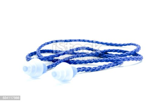 istock Blue earplugs with a string on white background. 534117566