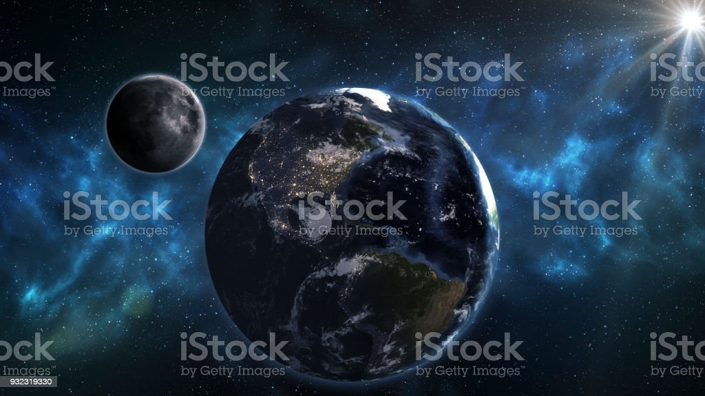Blue Earth And Moon In The Space Space Wallpaper Elements Of