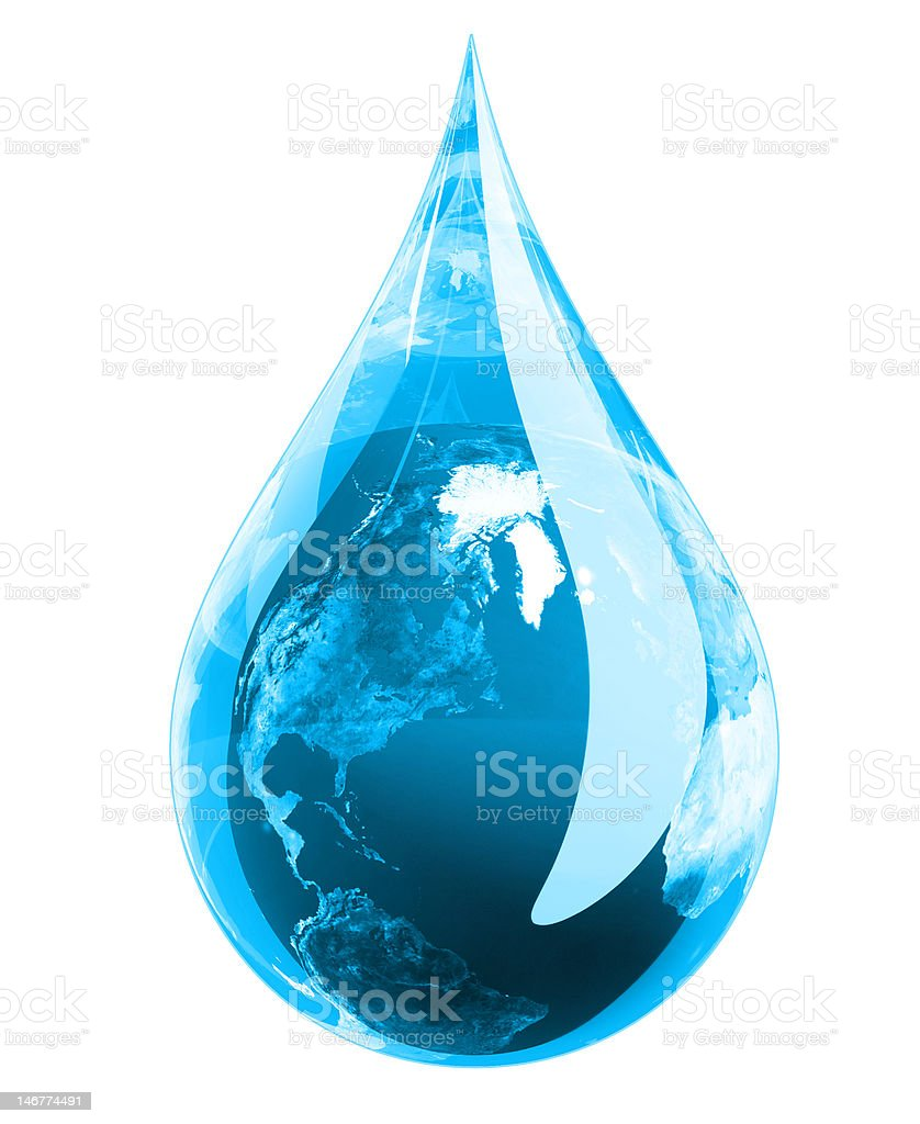Blue Earth Droplet stock photo